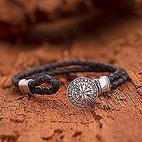 Men's sterling silver and leather braided wristband bracelet, 'Viking Compass'