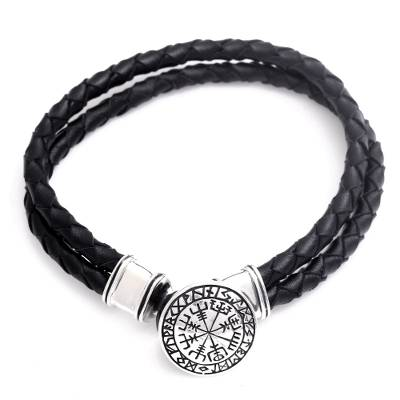 Men's sterling silver and leather braided wristband bracelet, 'Viking Compass' - Men's Sterling Silver and Leather Viking Bracelet from Bali