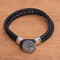 Sterling silver accent leather cord bracelet, 'Tranquil Balance' - Sterling Silver and Leather Yin Yang Braided Cord Bracelet