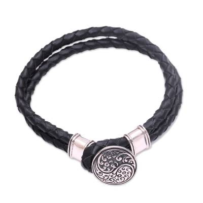 Sterling silver accented leather cord bracelet, 'Tranquil Balance' - Sterling Silver and Leather Yin Yang Braided Cord Bracelet