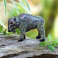 Polymer clay figurine, 'Bison' - Colorful Polymer Clay Bison Figurine from Bali
