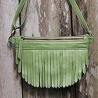Leather sling, 'Avocado Bohemian' - Bohemian Leather Sling in Avocado from Java