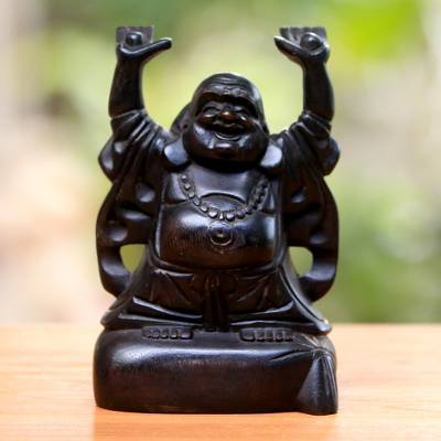 Wood sculpture, 'Delighted Buddha' - Dark Brown Suar Wood Buddha Sculpture from Bali