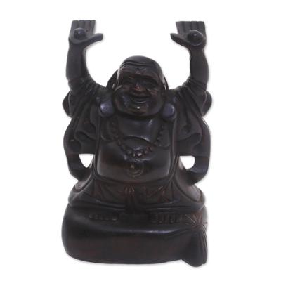 Dark Brown Suar Wood Buddha Sculpture from Bali