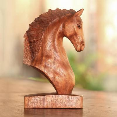 Wood sculpture, Stallion Bust