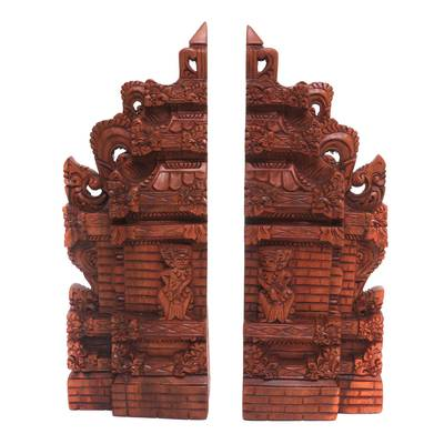Hand-Carved Cultural Suar Wood Bookends from Bali (12 in.)