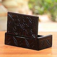 Decorative wooden box, 'Secret Lotus' - Suar Wood Handcrafted Decorative Box with Lotus Carving