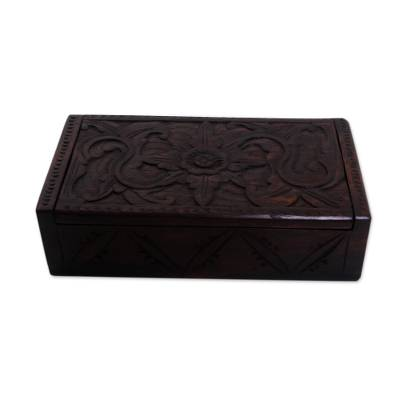Wood decorative box, 'Secret Lotus' - Suar Wood Handcrafted Decorative Box with Lotus Carving