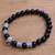 Men's onyx beaded stretch bracelet, 'Spartan Spirit' - Men's Spartan-Themed Onyx Beaded Stretch Bracelet (image 2b) thumbail