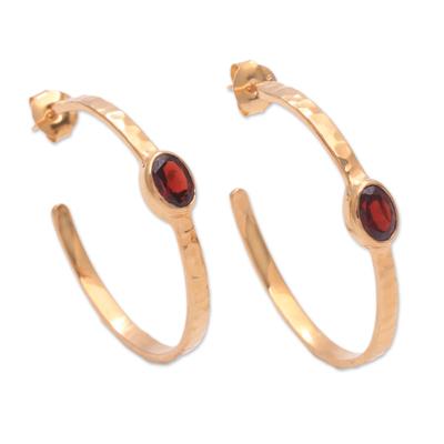 Gold plated garnet half-hoop earrings, 'Paradox' - 18k Gold Plated Garnet Hammered Half-Hoop Earrings