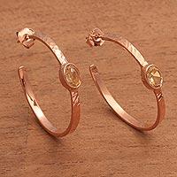 Rose gold plated citrine half-hoop earrings,