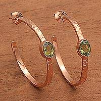 Rose gold plated peridot half-hoop earrings, 'Paradox' - Hammered Rose Gold Plated and Peridot Half-Hoop Earrings