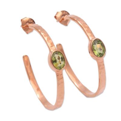 Rose gold plated peridot half-hoop earrings, 'Paradox' - Hammered Rose Gold Plated and Peridot Half-Hoop Earrings