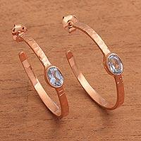 Rose gold plated blue topaz half hoop earrings, 'Paradox' - Rose Gold Plated Blue Topaz Hammered Half Hoop Earrings