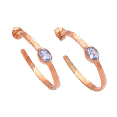 Rose gold plated blue topaz half-hoop earrings, 'Paradox' - Rose Gold Plated Blue Topaz Hammered Half-Hoop Earrings