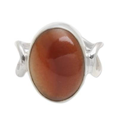 Oval Amber Cocktail Ring from Bali