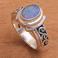 Opal cocktail ring, 'Opal Sky' - Opal Stone and Sterling Silver with Swirl Motifs Ring