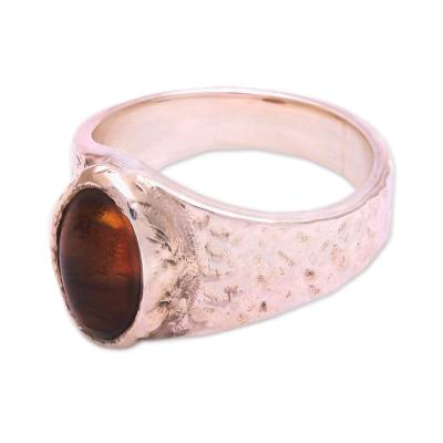Eye-Shaped Amber Cocktail Ring from Bali
