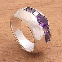 Amethyst cocktail ring, 'Wink' - Sterling Silver Amethyst Minimalist Design Cocktail Ring