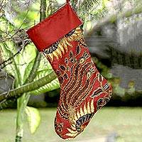 Batik cotton stocking, 'Batik Holiday'