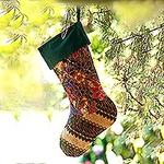 Batik Cotton Stocking in Midnight from Bali, 'Parang Holiday'