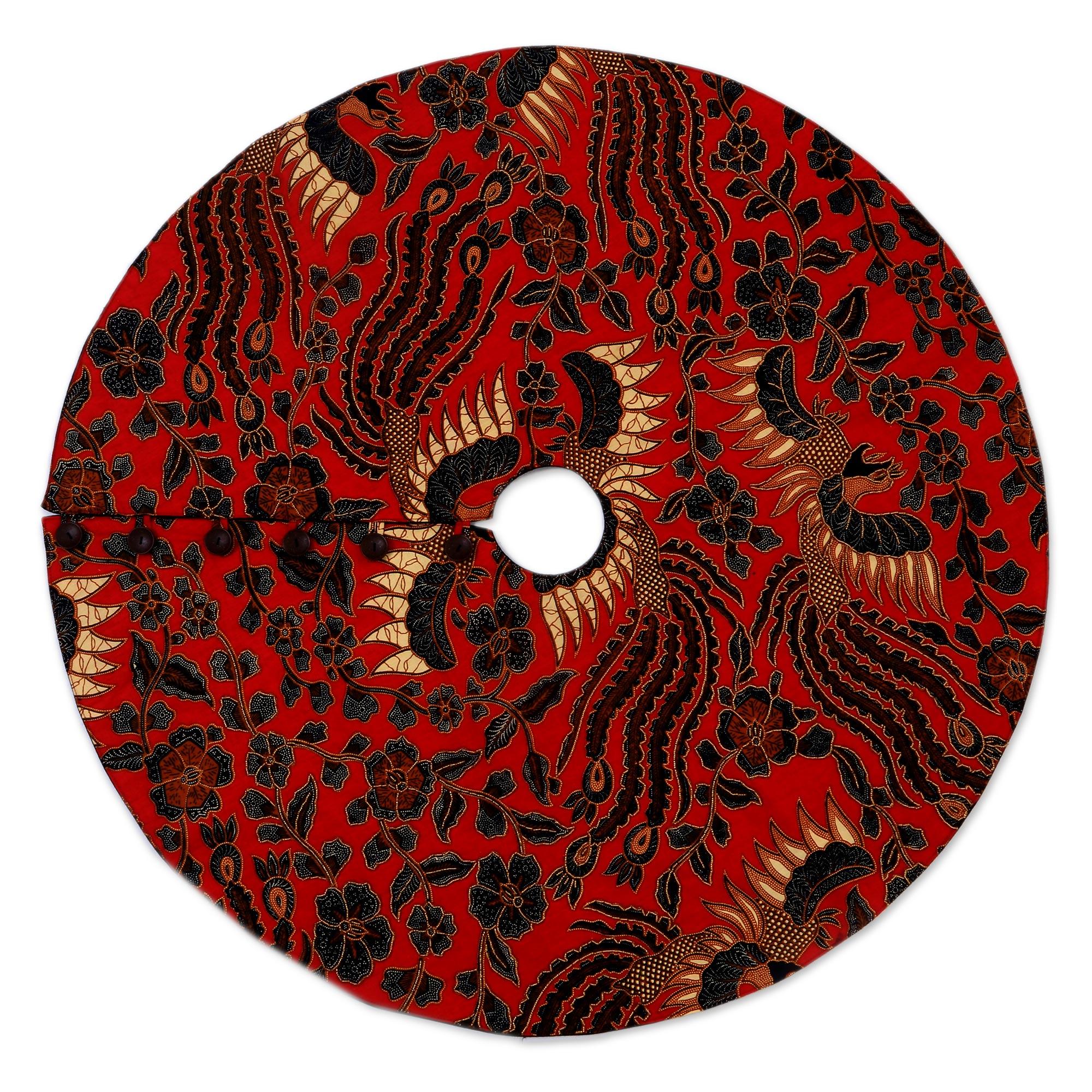 Batik Handmade Red Black And Gold Tree Skirt From Java Batik Christmas