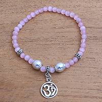 Cat's eye beaded stretch bracelet, 'Feminine Om' - Cat's Eye Om Beaded Stretch Bracelet from Bali