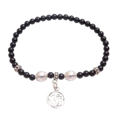 Onyx Om Beaded Stretch Bracelet from Bali