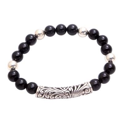 Onyx Beaded Stretch Pendant Bracelet from Bali