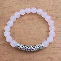 Rose quartz beaded stretch bracelet, 'Rosy Arch' - Rose Quartz Beaded Stretch Bracelet from Bali