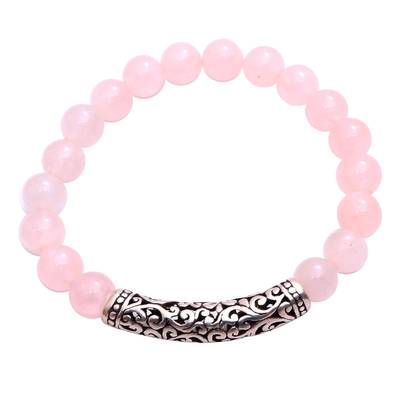 Rose Quartz Beaded Stretch Bracelet from Bali