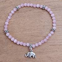 Cat's eye beaded stretch bracelet, 'Elephant Dangle' - Cat's Eye Elephant Beaded Stretch Bracelet from Bali