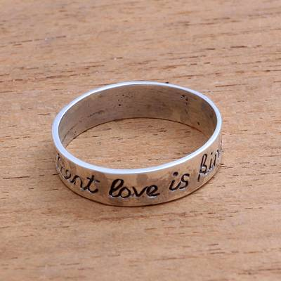 Sterling silver band ring, 'What Love Is' - Romantic Sterling Silver Band Ring from Bali