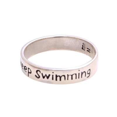 Inspirational Sterling Silver Band Ring from Bali