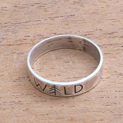 Sterling silver band ring, Wild Soul