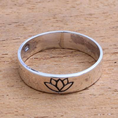 Lotus flower sterling silver band ring from bali single lotus novica sterling silver band ring single lotus lotus flower sterling silver band ring mightylinksfo