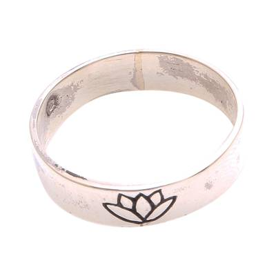 Lotus Flower Sterling Silver Band Ring from Bali
