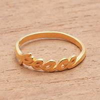 Gold plated sterling silver band ring, 'Gleaming Peace' - Peace-Themed Gold Plated Sterling Silver Band Ring from Bali