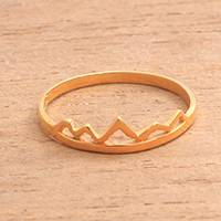 Gold plated sterling silver band ring, 'Mountain Crown' - Zigzag Motif Gold Plated Sterling Silver Band Ring from Bali