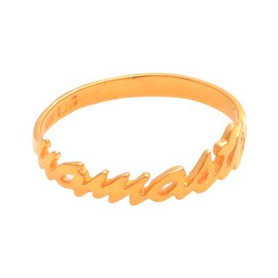 Gold Plated Sterling Silver Namaste Band Ring from Bali