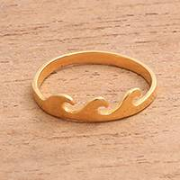 Gold plated sterling silver band ring, 'Indonesian Waves' - Wave Motif Gold Plated Sterling Silver Band Ring from Bali