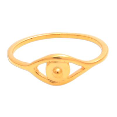 Gold Plated Sterling Silver Eye Band Ring from Bali