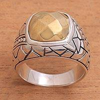 Men's sterling silver ring, 'Stony Path' - Men's Sterling Silver and Brass Ring from Bali