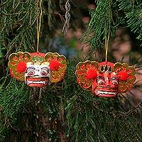 Wood ornaments, 'Barong Royalty' (pair) - Handmade White and Red Albesia Wood Balinese Ornaments