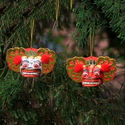 Wood ornaments, Barong Royalty (pair)