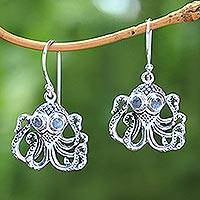 Rainbow moonstone dangle earrings, 'Gleaming Octopi' - Rainbow Moonstone Octopus Dangle Earrings from Bali