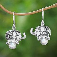 Cultured pearl dangle earrings, 'Elephant Soccer' - Cultured Pearl Elephant Dangle Earrings from Bali