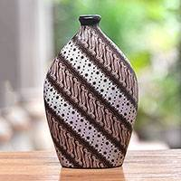 Ceramic decorative vase, 'Parang Bloom' - Ceramic Decorative Vase with Parang Motifs from Java