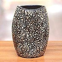 Ceramic decorative vase, 'Modern Shell' - Modern Ceramic and Egg Shell Decorative Vase from Java