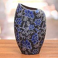 Terracotta decorative vase, 'Jasmine Edge' - Blue and Black Floral Decorative Terracotta Vase from Java
